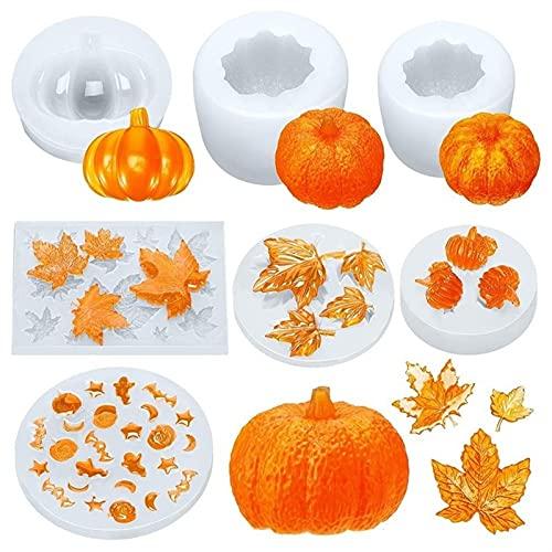 7 unids Moldes de resina de Halloween Moldes Calabaza Forma de Acción de Gracias Forma de arce Moldes de silicona Suministros DIY Decoración DUO ER