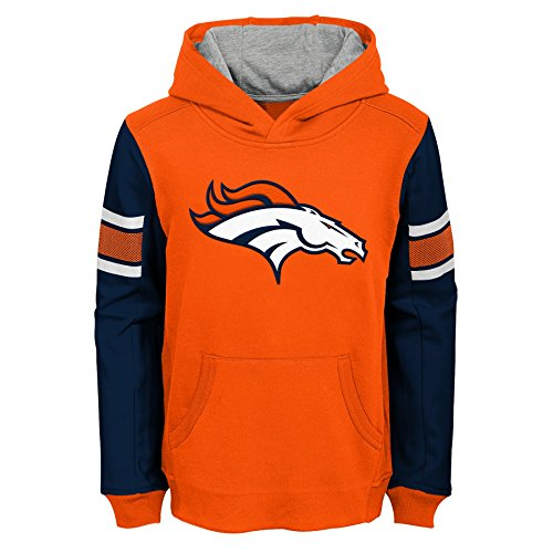 NFL Denver Broncos Boys Outerstuff 'Man in Motion' Pullover Hoodie, Youth Medium(10-12), Grey