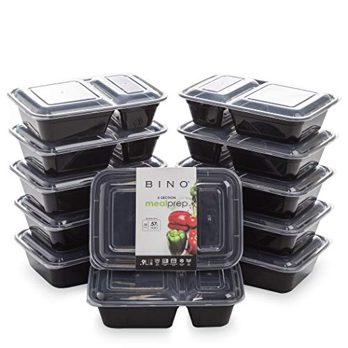 BINO Meal Prep Containers with Lids - 2 Compartment /30 oz [12-Pack], Black - Bento Box Lunch Containers for Adults Food Containers Meal Prep Food Prep Containers Set