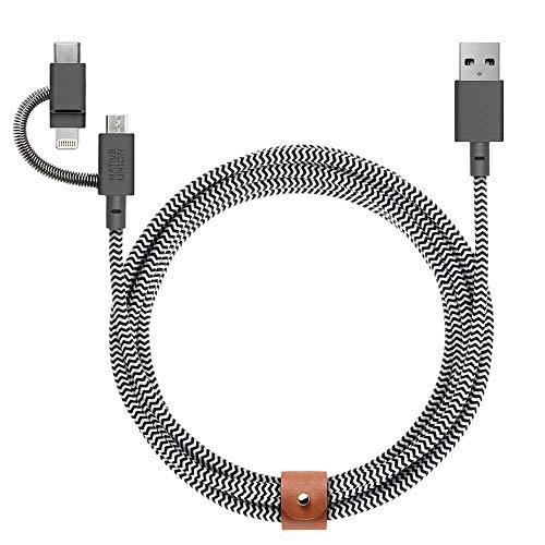 [ネイティブユニオン] BELT Cable Universal 3-in-1 高耐久 急速充電ケーブル (ライトニング/USB-C/Micro-USB端子対応) 2m ZEBRA
