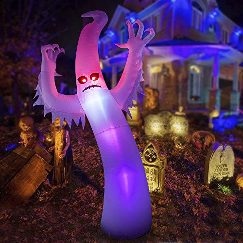HOOJO 12 FT Halloween Red-Eyes White Ghost Inflatable Outdoor Decoration with Build in LEDs, Blow up Indoor, Yard…