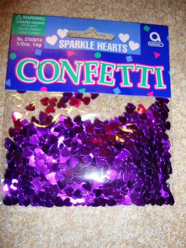amscan International Confettis métalliques Motif cœurs Violet