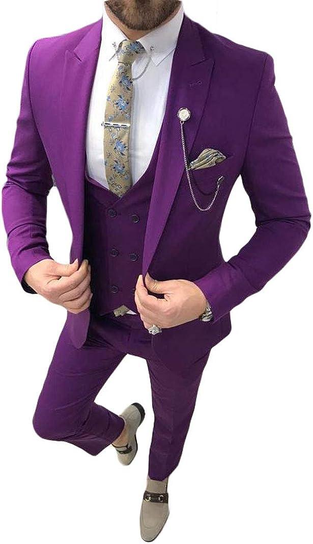 Men's Purple 3 PC Slim Fit Groom Tuxedos Notch Lapel Jacket Pants Vest Wedding Suit Dinner Suit Casual Suits
