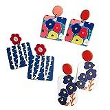 Pendientes de botón de Estilo de Pintura al óleo de Temperamento de 3 Pares,Pendiente de Gota artística de Resina geométrica,Pendientes Perforados Regalo de joyería para Mujer