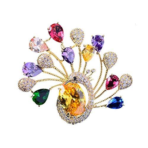 Broche de paon coloré pour les femmes Zicon broches broches bijoux de luxe 2021 vêtements écharpe boucle vêtement accessoires bijoux cadeau