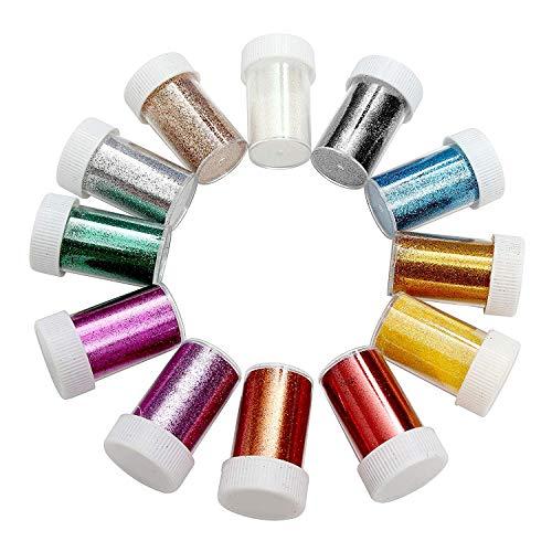 BELLE VOUS 12 Farben Glitzerpulver Set - Feines Glitzer, Bastel Glitzerpulver zum Nagelkunst, Kartenbasteln, Party Dekoration und Mehr - Glitzerpulver zum Dekorieren Gesicht, Nägel, Haare