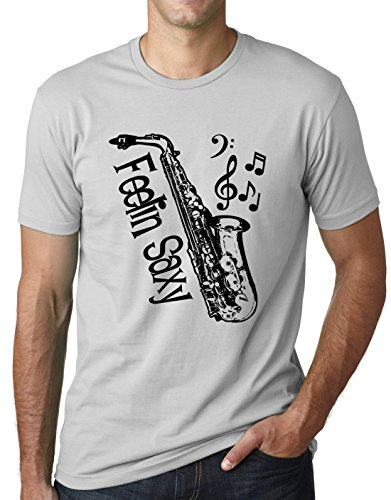 Camiseta engraçada saxofone Think Out Loud Apparel Feelin Saxy humor saxofone, Cinza, XX-Large