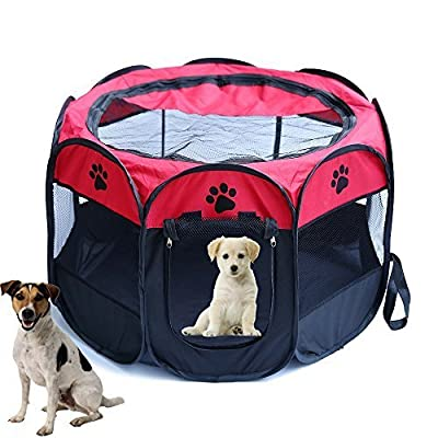 Horing Pop Up Tent Pet Playpen Carrier Dog Cat Puppies Portable Foldable Durable Paw Kennel Red M