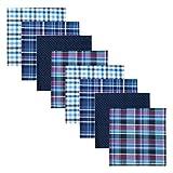 Retreez - 8 Pañuelos de puro algodón surtidos para hombre - Incluye paquete para regalo, Set Assortito, A5a004 (Azul) - RTZ-HNK8BOX-0001-A5A-SET004