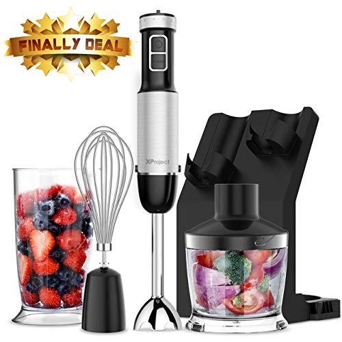 XProject 5-in-1 Hand Blender with 12 Speed,Stainless Steel Stick Blender, 800W Powerful...