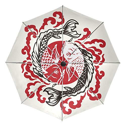 Fisch-Tattoo-Regenschirm, kompakt, faltbar, wendbar, Winddicht, verstärkter Schirm, UV-Schutz, ergonomischer Griff, automatisches Öffnen/Schließen