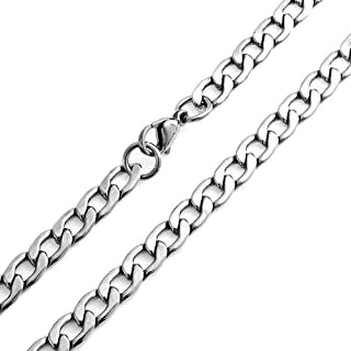 8MM Silver Tone Stainless Steel Cuban Curb Link Necklace Chain for Men