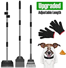 MOICO Dog Pooper Scooper,3 Pack Upgraded Adjustable Long Handle Metal Tray,Rake and Spade Poop Scoop,Pet Waste Removal Pooper Scooper for Large Dogs and Pets