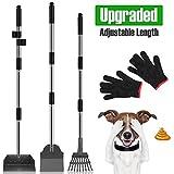 MOICO Dog Pooper Scooper,3 Pack Upgraded Adjustable Long Handle Metal...