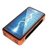 Power Bank Solar 50000Mah, Cargador Solar Portátil Batería Externa Móvil con 4 Salidas USB Y Lámparas LED (Modo SOS) Y Gancho, Cargador Portatil para iPhone iPad Samsung, Batería Portatil,Naranja