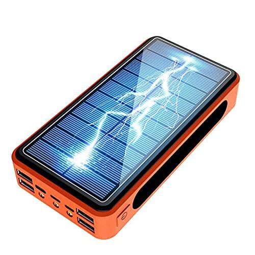 Wttfc Cargador Solar Portátil con 50000mAh, Banco de energía Solar, Power Bank Solar Inalámbrico 5 Salida con LED Linterna USB Cargador Bateria Externa Solar Teléfono Celular para Viajes, Camping