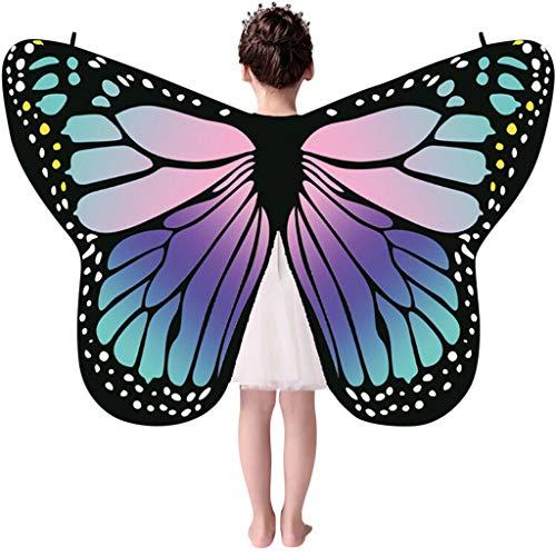 Damen Kinder Schmetterlingsflügel kostüm,Riou Mama und Kinder Schmetterling Schal Kostüm Pixie Nymphe Feenkostüm für Hallowee Karneval Fasching Kostüme Party Cosplay Butterfly Wings