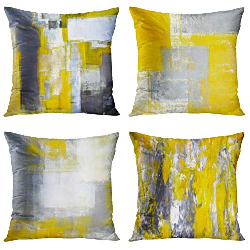 Britimes Throw Pillow Covers Home Decor Set of 4 Pillow Cases Decorative 18 x 18 Inches Outdoor Cushion Couch Sofa Pillowcases Grey and Yellow