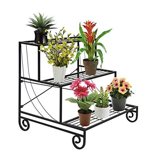 Liefde lamp Bloem Rekken Drie Tier Metalen Plant Stand Decoratieve Planter Houder Bloem Pot Plank Rack Zwart Plant Stands
