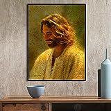 wZUN Decoración para el hogar Impresiones artísticas de Pared y póster Retrato Lienzo Pintura Imagen de Dios Jesucristo Sala de Estar Dormitorio 60x80 Sin Marco