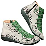 POLP Botas,Mujer Botines de Cuero Otoño Invierno Vintage Botines Mujer con Cordones Zapatos de Mujer Botas Cómodas de tacón Plano Cremallera Bota Corta Casual (40, Navidad Verde)