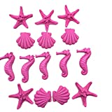 15pcs Resin Finger Starfish Seashells Resin seahorsesfor Wedding Home Decor and Craft Project (Pink)