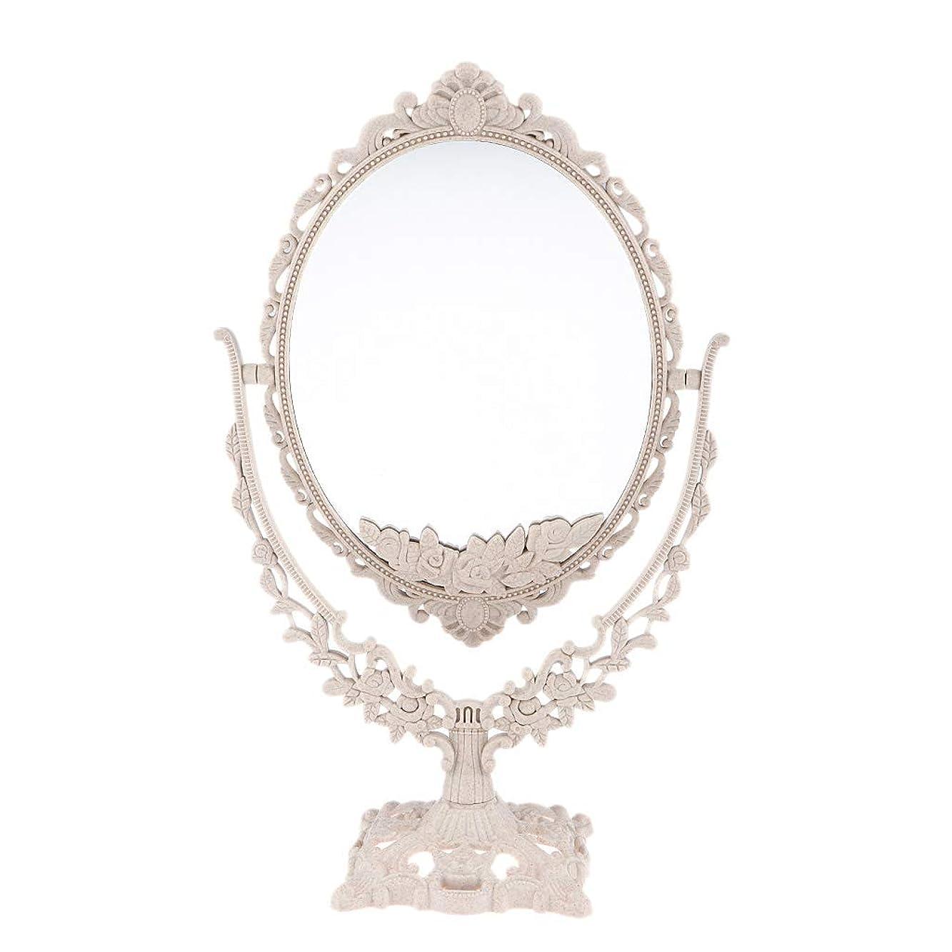 ケープサークルパフPerfeclan ミラー 鏡 メイクアップミラー 化粧鏡 スタンドミラー 両面鏡 卓上鏡 360度回転 彫刻 パターン - 楕円形
