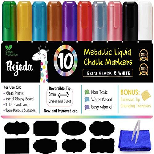 Los Rotuladores de Tiza Líquida, 10 Colores Metálicos Rotulador para Utilizar en la Pizarra Blanca, el Pizarrón, la Ventana, Los Bistrós, con 32 Etiquetas, 1 Pinza y Paño de Limpieza