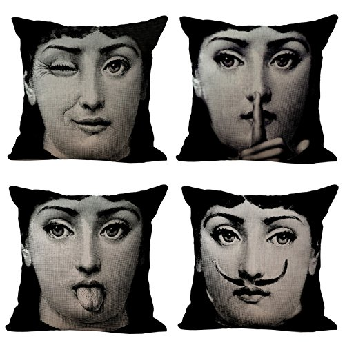 BQ 4Pcs Cushion Cover Fornasetti Creation Lina's Bouncing Exaggerated Face Pattern Pillow Cover Decorative Pillow Case 18x18 Inches Cotton Linen Blend Square Throw Pillow Cover Cushion for Couch Home