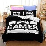 Juegos de Ropa de Cama de Videojuegos Adolescentes Funda Nórdica Gamepad Gaming Gamer Decoración de Dormitorio Moderna Colcha de Microfibra Suave para Niños Niñas (Multi 2, 180x210cm Cama 90 cm)