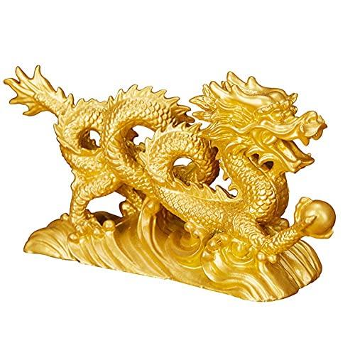 PAKUES-QO Figura De Estatua De Dragón Feng Shui, Dragón De Resina Chino con Adorno De Escultura De Bola De Dragón, Decoración De Oficina En Casa, Coleccionable De Regalo, A