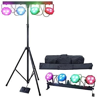 DragonX 4 Bar LED mobile DJ Stage Lighting Package/108W Portable RGB Par Can Kit Gig Spotlight Bar Set/Sound Activated Flex Wash Light Party System W/Stand by DragonX