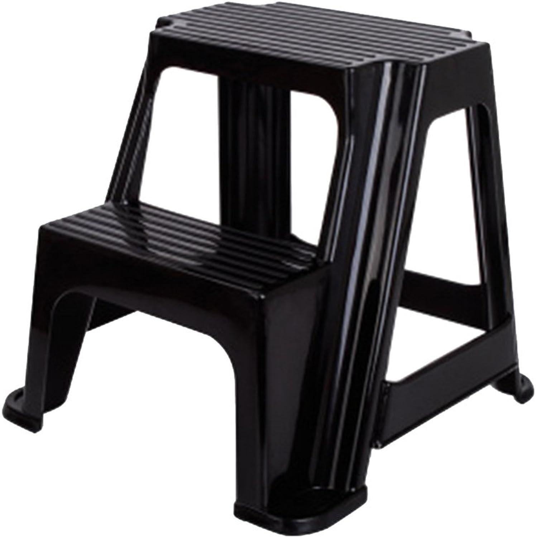 PENGFEI Ladder Stool Multifunction Bathroom Footstool Kindergarten Ascend Pedal Change shoes Stool 2 Steps, 4 colors Furniture (color   Black)