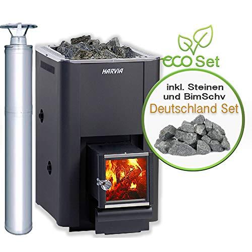 Harvia Saunaofen 20 Sl Boiler Deutschland-Set, Inkl. Steine, BimSchv und Schornsteinsystem