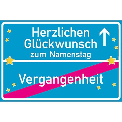 vanva Herzlichen Glückwunsch zum Namenstag Ortsschild Namenstag Geschenk Schild 30x20 cm Namenstagsgeschenk Geschenk Namenstag Türkis
