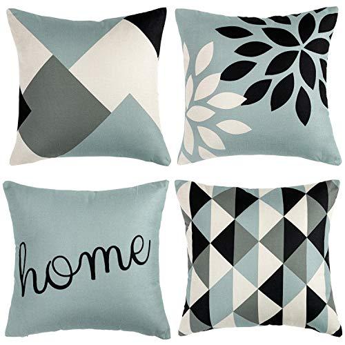 Wosendy - Set di 4 federe per cuscini da letto o divano con motivo geometrico a righe, 45,7 x 45,7 cm 18*18 inch Colore 1.