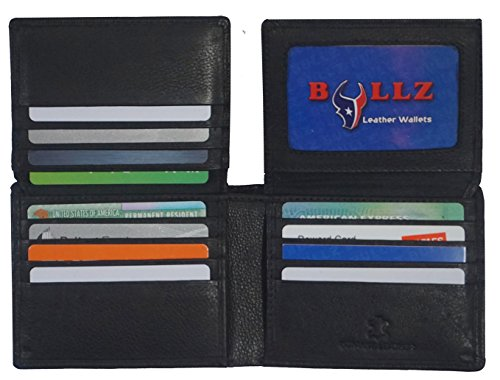 Bullz RFID Signal Blocking Protection Leather Credit Card Holder Security Mens Wallet (Black)