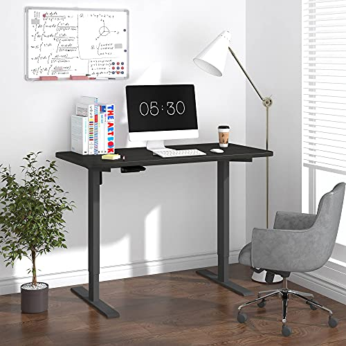 HOUSEELF Electric Height Adjustable Standing Desk - 48 x 24 Inches Stand Up Computer Writing Desk with Smart Memory Screen for Home, Office, Workstation, Black Frame & Top