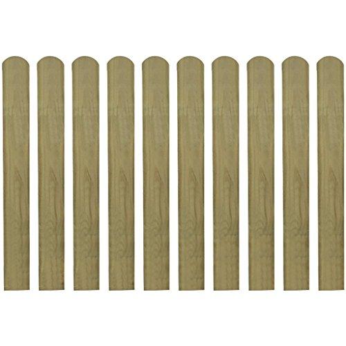 Festnight 10 Stücke Zaunlatte Zaunbrett aus Imprägniertes Holz Latte Höhe 80cm für Garten Patio Terrasse
