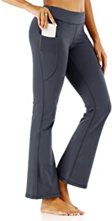 KISSOURBABY Women's High Waist Bootcut Yoga Pants Tummy Control Bootleg Leggings with 2 Pockets