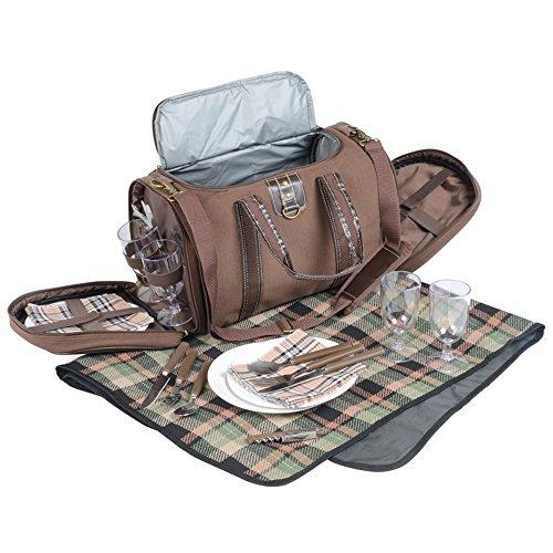 Picknicktasche mit Campinggeschirr Picknickkorb 29 teilig Umhängetasche 45 x 25 x 24 cm Braun