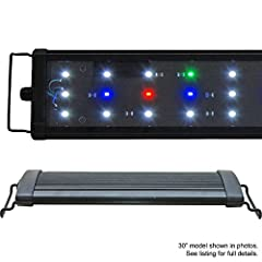 LEDs: 54x 0.50W (2500 lumen) Config: 37x 10000K, 9x Actinic 460nm, 4x Red 620nm, 4x Green 520nm Timer Ready, 2 Mode Day / Night Suitable for freshwater, plants, cichlid 1 Year Warranty*