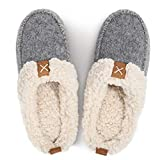 LongBay Women's Wool Felt Sherpa Memory Foam Slippers with Plush Fleece Lining Slip on Moc Clogs Indoor Or Outdoor (X-Large / 11-12, Gray)