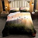 Green Mountain - Juego de ropa de cama con diseño de pájaros voladores y amanecer