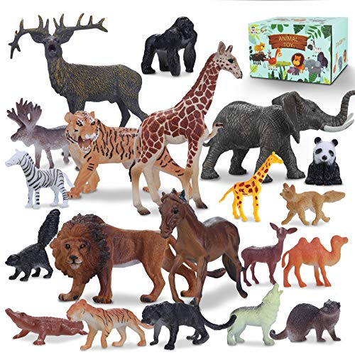 Tagitary 動物のフィギュア リアル動物20点豪華セット 子供飛びつくおもちゃ 収納ボックス付 き 動物遊びトイ 森ごっこ 室内飾り コレクション 誕生日プレゼント 祝いプレゼント 6歳以上適用