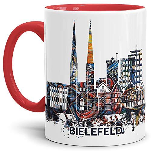 Tassendruck Bielefeld-Tasse Skyline - Kaffeetasse/Silhouette/Souvenir/Städte-Tasse/Mug/Cup/Becher/Beste Qualität - 25 Jahre Erfahrung - Innen & Henkel Rot