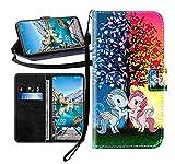 Sunrive Kompatibel mit HTC Desire 530 Hülle,Magnetisch Schaltfläche Ledertasche Schutzhülle Etui Leder Hülle Handyhülle Tasche Schalen Lederhülle MEHRWEG(Blau rot Einhorn B1)