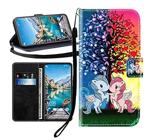 Sunrive Cover per Honor 4C/Huawei G Play Mini, Custodia con Supporto di Stand e in Pelle Artificiale per Carte di Credito Portafoglio Flip Chiusura Magnetica Bumper(Unicorno Rosso Blu B1)