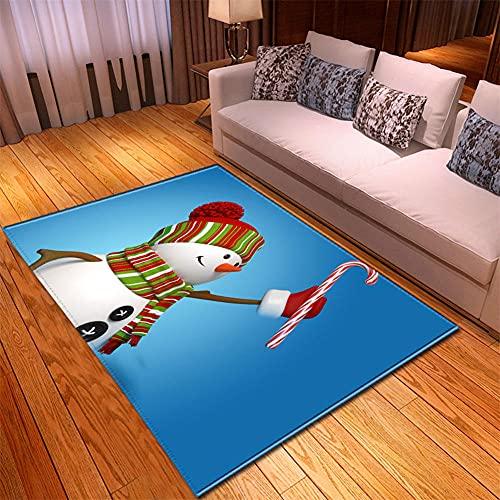 Tappeto Salotto Moderno 110X160cm Pupazzo Di Neve Blu Tappeto 3D HD Tappeto Soffice per Camera da Letto Tappeto Bambini Motivo a Pelo Corto,Tappeto Cucina Antiscivolo Lavabile Tappeto Bagno Grand
