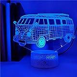 Bus pequeño de moda lámpara de mesa pequeña creativa decoración creativa lámpara de mesa pequeña luz LED acrílico luz de noche multicolor 5D base agrietada